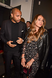 Thierry Henry and Andrea Rajacic at a private view of work by Bradley Theodore entitled 'The Second Coming' at the Maddox Gallery, 9 Maddox Street, London England. 19 April 2017.