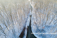 63877-01304 Aerial view of forest and road after snowfall in winter Stephen A. Forbes St. Park Marion Co. IL
