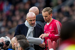 Alfred Schreuder of Ajax, Siem de Jong of Ajax during the Dutch Eredivisie match between Ajax Amsterdam and Feyenoord Rotterdam at the Amsterdam Arena on January 21, 2018 in Amsterdam, The Netherlands