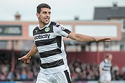 Omar Bugiel (Forest Green Rovers) celebrates having scored the first goal of the game. 1-0 to the visitors during the Vanarama National League match between York City and Forest Green Rovers at Bootham Crescent, York, England on 29 April 2017. Photo by Mark PDoherty.