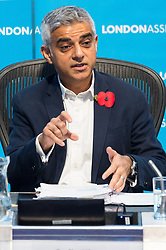 © Licensed to London News Pictures. 01/11/2018. London, UK. London Mayor Sadiq Khan attends a London Assembly meeting on crime in the capital covering topics including tackling crime, future challenges for policing, tackling violence against women and girls and reducing road crime. Photo credit: Ray Tang/LNP