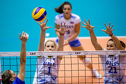 23-08-2017 NED: World Qualifications Greece - Slovenia, Rotterdam<br /> SloveniÎ wint met 3-0 / Eva Mori #1 of Slovenia, Tina Grudina #21 of Slovenia<br /> Photo by Ronald Hoogendoorn / Sportida