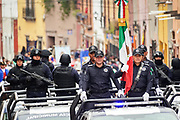 Members of the Mexican Military Police parade through the streets to celebrate the 251st birthday of the Mexican Independence hero Ignacio Allende January 21, 2020 in San Miguel de Allende, Guanajuato, Mexico. Allende, from a wealthy family in San Miguel played a major role in the independency war against Spain in 1810 and later honored by his home city by adding his name.