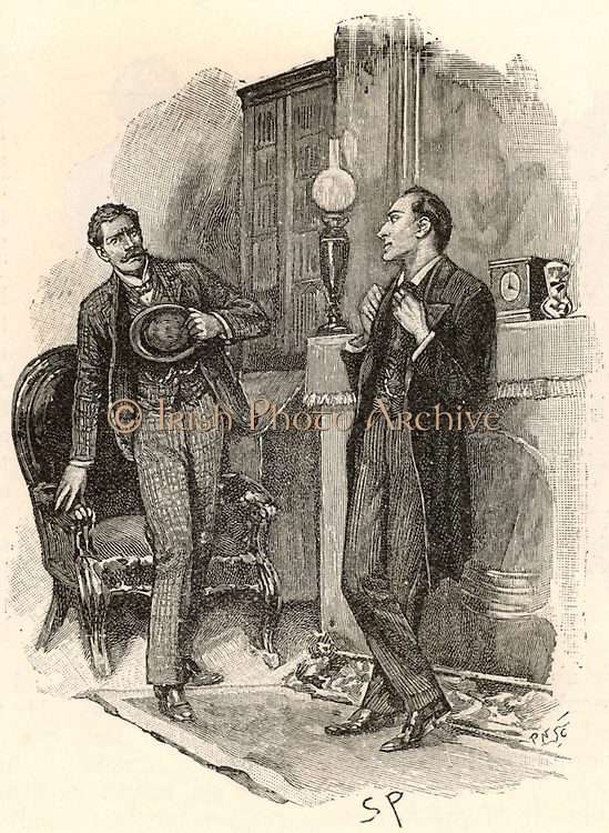 The Adventure of the Yellow Face'. A visitor to Holmes springing up in alarm that the detective should know his name. 'If you wish to preserve your incognito,' said Holmes, smiling, 'I should suggest that you cease to write your name in the lining of your hat ...'.  From 'The Adventures of Sherlock Holmes' by Conan Doyle from 'The Strand Magazine' (London, 1893). Illustration by Sidney E Paget, the first artist to draw Sherlock Holmes.  Engraving.