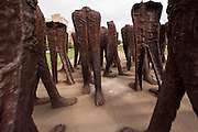Agora a group of 106 headless and armless iron sculptures by Polish artist Magdalena Abakanowicz, in Grant Park Chicago USA
