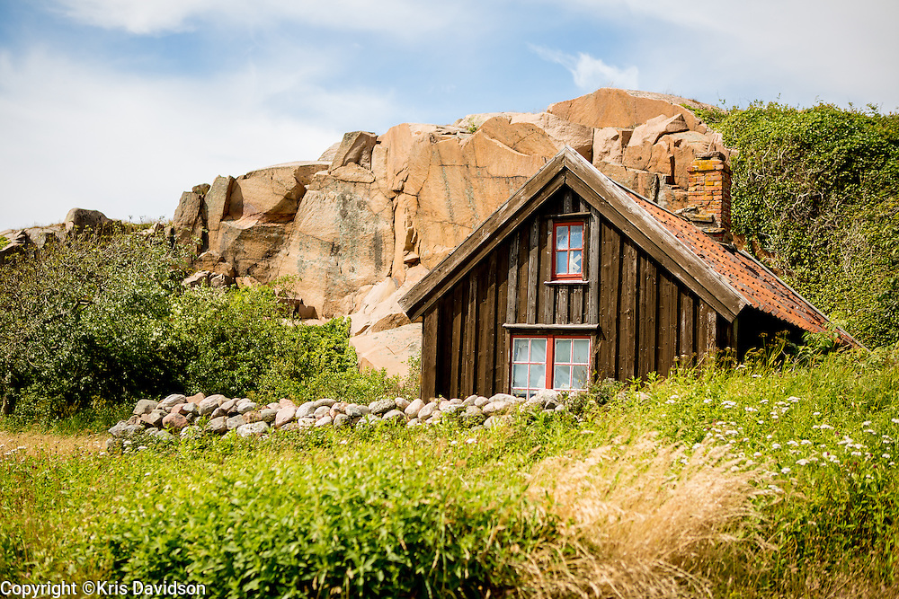 Home nestled against cliffs in the picturesque coastal town of Lysekil on Sweden's west coast.