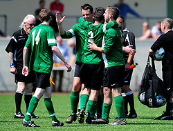 Chris Dawson of SWYD United celebrates with Marc Richards of SWYD United, Gonzalo Garcia of SWYD United and Gonzalo Garcia of SWYD United - Mandatory by-line: Dougie Allward/JMP - 08/05/2016 - FOOTBALL - Keynsham FC - Bristol, England - BAWA Sports v SWYD United - Presidents cup final