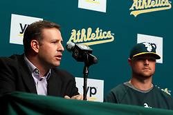 OAKLAND, CA - AUGUST 01:  Assistant general manager David Forst of the Oakland Athletics speaks next to Jon Lester #31 during a press conference before the game against the Kansas City Royals at O.co Coliseum on August 1, 2014 in Oakland, California. (Photo by Jason O. Watson/Getty Images) *** Local Caption *** David Forst; Jon Lester #31