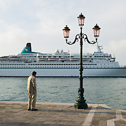 VENICE ITALY 16th February 2012 The protest is mounting by Venetians and environmentalist against large Cruise ships crossing St Mark's Basin, after the tragedy of Costa Concordia.
