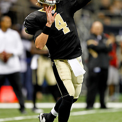 September 1, 2011; New Orleans, LA, USA; New Orleans Saints quarterback Sean Canfield (4) during warm ups prior to a preseason game against the Tennessee Titans at the Louisiana Superdome. Mandatory Credit: Derick E. Hingle