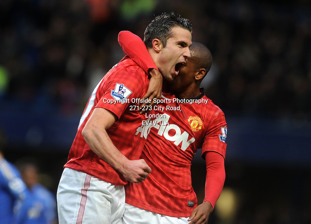 28/10/2012 - Barclays Premier League Football - 2012-2013 - Chelsea v Manchester United - Robin Van Persie Celebrates after he scores the second goal of the game fo United. - Photo: Charlie Crowhurst / Offside.