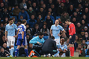 Manchester City defender Vincent Kompany (4)  gets injured during the Champions League Round of 16 match between Manchester City and Dynamo Kiev at the Etihad Stadium, Manchester, England on 15 March 2016. Photo by Simon Davies.
