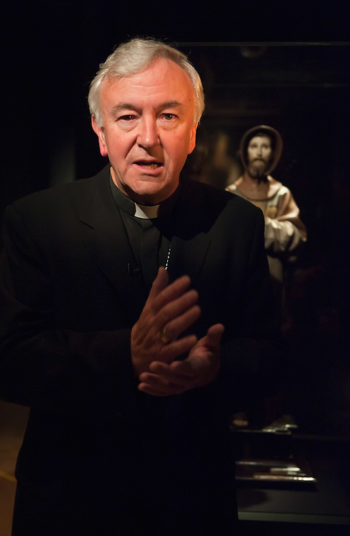 LONDON, ENGLAND - OCTOBER 16:  Archbishop of Westminster Vincent Nichols stands in front of  a statue of St Francis, at 'The Sacred Made Real Exhibition' at the National Gallery  on October 16, 2009 in London, England. The Exhibition running from October 21 to January 24, 2010 includes masterpieces by Velasquez and Francisco de Zurbaran which are displayed for the very first time outside of Spain  ...***Agreed Fee's Apply To All Image Use***.Marco Secchi /Xianpix. tel +44 (0) 771 7298571. e-mail ms@msecchi.com .www.marcosecchi.com