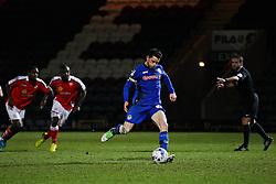 Rochdale's Ian Henderson scores the opening goal from the penalty spot - Photo mandatory by-line: Matt McNulty/JMP - Mobile: 07966 386802 - 03/03/2015 - SPORT - football - Rochdale - Spotland Stadium - Rochdale v Crewe Alexandra - Sky Bet League One
