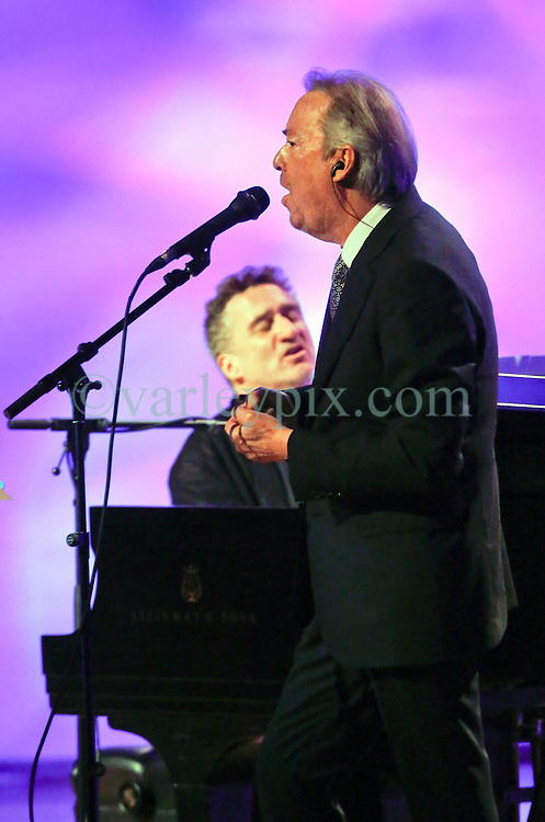 20 November 2015. Orpheum Theater, New Orleans, Louisiana. <br /> Memorial service for musician Allen Toussaint. <br /> Boz Skaggs and Jon Cleary perform on stage.<br /> Photo; Charlie Varley/varleypix.com