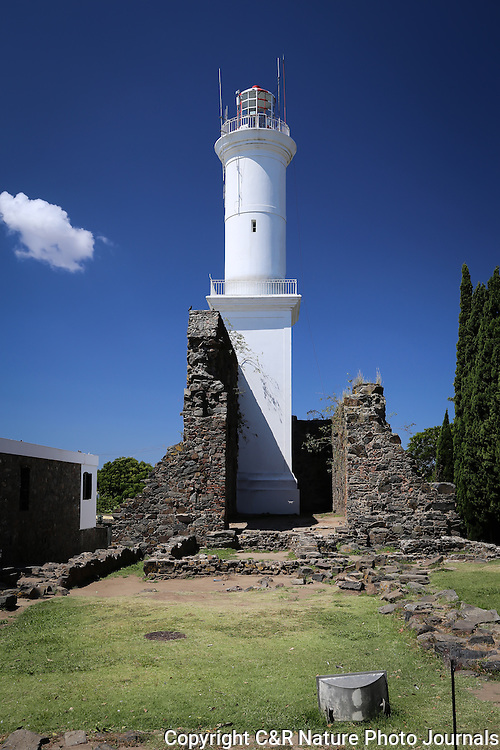 Colonia Del Sacramento Light House in Montevideo, Uruguay, is a commanding feature of this colonial town, both occupied by the Spanish and the Portuguese.
