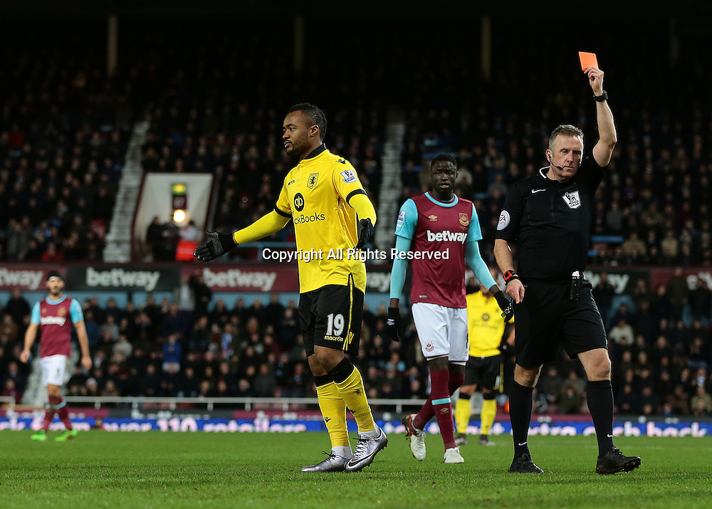 02.02.2016. Boleyn Ground, London, England. Barclays Premier League. West Ham versus Aston Villa. Aston Villa's Jordan Ayew receives a straight red card for an off the ball incident with West Ham United Defender Aaron Creswell