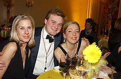 Left to right, MRS EDWARD LAW, LORD ANDOVER and ANTONIA BYRNE at 'A Rout' an evening of late evening party, essentially of revellers in aid of the Great Ormond Street Hospital Children's Charity and held at Claridge's, Brook Street, London W1 on 25th January 2005.<br />