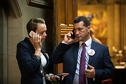 © Licensed to London News Pictures . FILE PICTURE DATED 24/06/2016 of STEVEN WOOLFE (r) at Manchester Town Hall , UK , during the count in the EU referendum , as today , 14th July 2016 , Woolfe has declared his intention to stand as the next leader of UKIP , following the resignation of Nigel Farage . Photo credit : Joel Goodman/LNP