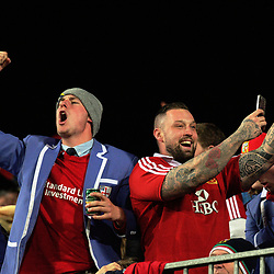 Lions fans celebrate during the 2017 DHL Lions Series rugby union match between the NZ Maori and British & Irish Lions at FMG Stadium in Hamilton, New Zealand on Tuesday, 20 June 2017. Photo: Dave Lintott / lintottphoto.co.nz