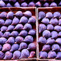 Purple Mediterranean Figs in Box at La Boqueria Market in Barcelona, Spain<br />