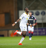 Partick Thistle&rsquo;s Adebayo Azeez celebrates after opening the scoring - Dundee v Partick Thistle in the Ladbrokes Scottish Premiership at Dens Park, Dundee. Photo: David Young<br /> <br />  - &copy; David Young - www.davidyoungphoto.co.uk - email: davidyoungphoto@gmail.com