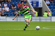 Forest Green Rovers Mark Roberts(21) passes the ball forward during the EFL Sky Bet League 2 match between Colchester United and Forest Green Rovers at the Weston Homes Community Stadium, Colchester, England on 26 August 2017. Photo by Shane Healey.