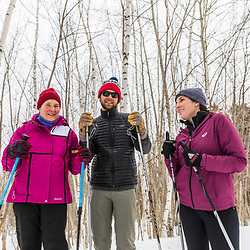 Cross country skiers at Loon Echo Land Trust's Bald Pate Mountain Preserve in South Bridgton, Maine.