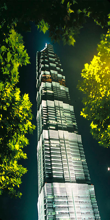 Night view of illuminated Jinmao Building in Pudong, Shanghai, China