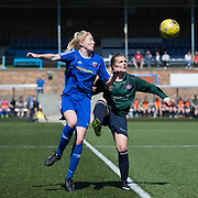 Farmington's Gemma Collier heads clear - Forfar Farmington v Edinburgh University Hutchison Vale in SWPL2  at Station Park, Forfar, Photo: David Young<br /> <br />  - &copy; David Young - www.davidyoungphoto.co.uk - email: davidyoungphoto@gmail.com