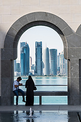 View of modern skyscrapers in West Bay district of Doha from Museum of Islamic Art in Qatar