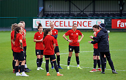 NEWPORT, WALES - Tuesday, November 6, 2018: Wales' players during a training session at Dragon Park ahead of two games against Portugal. (Pic by Paul Greenwood/Propaganda) Angharad James, Natasha Harding, captain Sophie Ingle, Kayleigh Green and Helen Ward