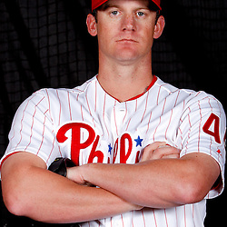 February 22, 2011; Clearwater, FL, USA; Philadelphia Phillies starting pitcher Roy Oswalt (44) poses during photo day at Bright House Networks Field. Mandatory Credit: Derick E. Hingle