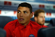 Paris Saint Germain's Brazilian defender Thiago Silva sits before the French championship L1 football match between Paris Saint-Germain (PSG) and Saint-Etienne (ASSE), on August 25, 2017 at the Parc des Princes in Paris, France - Photo Benjamin Cremel / ProSportsImages / DPPI