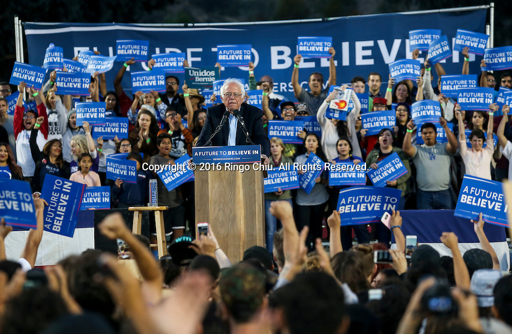 Democratic presidential candidate Bernie Sanders speaks during a rally at Ganesha High School Stadium in Pomona Calif., on May 26, 2016.(Photo by Ringo Chiu/PHOTOFORMULA.com)<br /> <br /> Usage Notes: This content is intended for editorial use only. For other uses, additional clearances may be required.
