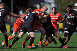 Dan Cole of Leicester Tigers takes on the Saracens defence - Photo mandatory by-line: Patrick Khachfe/JMP - Mobile: 07966 386802 11/04/2015 - SPORT - RUGBY UNION - London - Allianz Park - Saracens v Leicester Tigers - Aviva Premiership