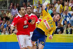 Carlos Carniero of Benfica vs Matjaz Mlakar of Cimos Koper during handball match between RK Cimos Koper (SLO) and SL Benfica (POR) in return final match of EHF Challenge Cup, on May 22, 2011 in Arena Bonifika, Koper, Slovenia.  (Photo By Vid Ponikvar / Sportida.com)