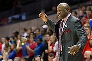 DALLAS, TX - NOVEMBER 25: Arkansas Razorbacks head coach Mike Anderson looks on against the SMU Mustangs on November 25, 2014 at Moody Coliseum in Dallas, Texas.  (Photo by Cooper Neill/Getty Images) *** Local Caption *** Mike Anderson