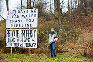 David Anspach marks 100 days without clean water in his Berks County home. Pipeline work disturbed the surrounding ground contaminating his well water. Mr Anspach became seriously ill and now buys bottled water for drinking. November 18, 2017.