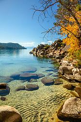 """Secret Cove in Autumn 1"" - Photograph of fall foliage along the shore at Secret Cove, Lake Tahoe."