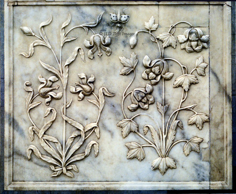Jaipur, Amber Fort, established 1592 by Man Singh I, with palaces added by Jai Singh I (r 1621-67).  Detail of marble wall panel exquisitely carved with two different flower stalks with blooms and a one butterfly