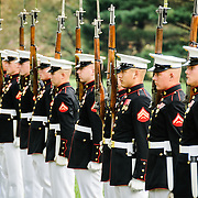 Marine Corps Silent Drill Platoon at the Marine Corps Sunset Parade at the Marine Corps War Memorial (Iwo Jima Memorial) next to Arlington National Cemetery