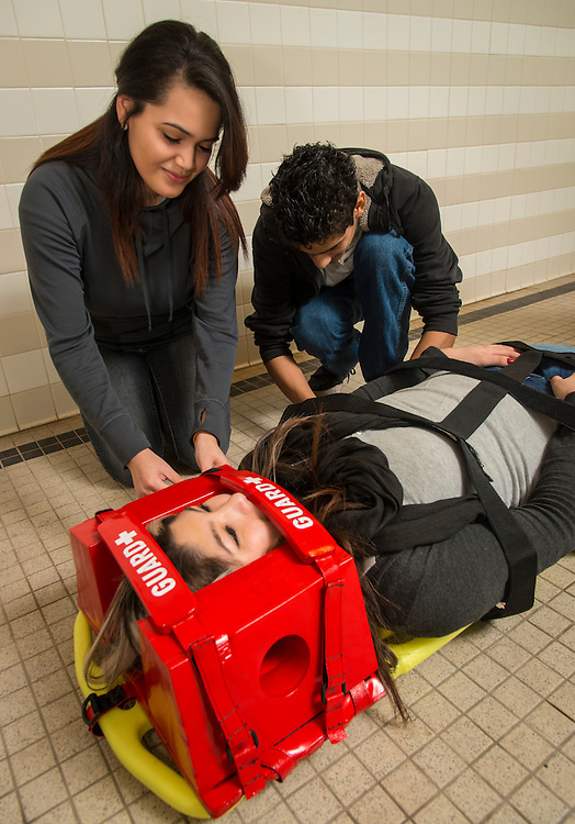 Students practice lifesaving techniques at Austin High School, January 21, 2015.