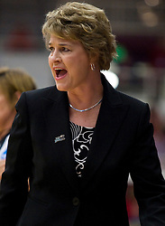 March 20, 2010; Stanford, CA, USA;  Iowa Hawkeyes head coach Lisa Bluder during the first half in the first round of the 2010 NCAA womens basketball tournament at Maples Pavilion. Iowa defeated Rutgers 70-63.