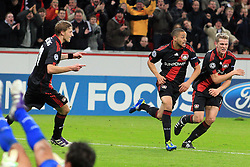 19.10.2011, BayArena, Leverkusen, GER, UEFA CL, Gruppe E, Bayer Leverkusen (GER) vs Valencia CF (ESP), im Bild.Torjubel / Jubel  nach dem 2:1 durch Sidney Sam (Leverkusen #18) (M) mit Lars Bender (Leverkusen #8) (R) und Stefan Kiessling (Leverkusen #11)..// during the UEFA CL, group E, Bayer 04 Leverkusen (GER) vs Valencia CF (ESP) on 2011/10/19, at BayArena, Leverkusen, Germany. EXPA Pictures © 2011, PhotoCredit: EXPA/ nph/  Mueller       ****** out of GER / CRO  / BEL ******