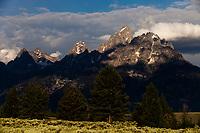 The high peaks (The Three Tetons) Middle Teton, Grand Teton and Mount Owen, Grand Teton National Park, Wyoming, United States