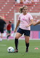 The United States' Cat Whitehill wearing a special pink Breast Cancer Awareness top during pregame warmups on Saturday, May 12th, 2007 at Pizza Hut Park in Frisco, Texas. The United States Women's National Team defeated Canada 6-2 in a women's international friendly.
