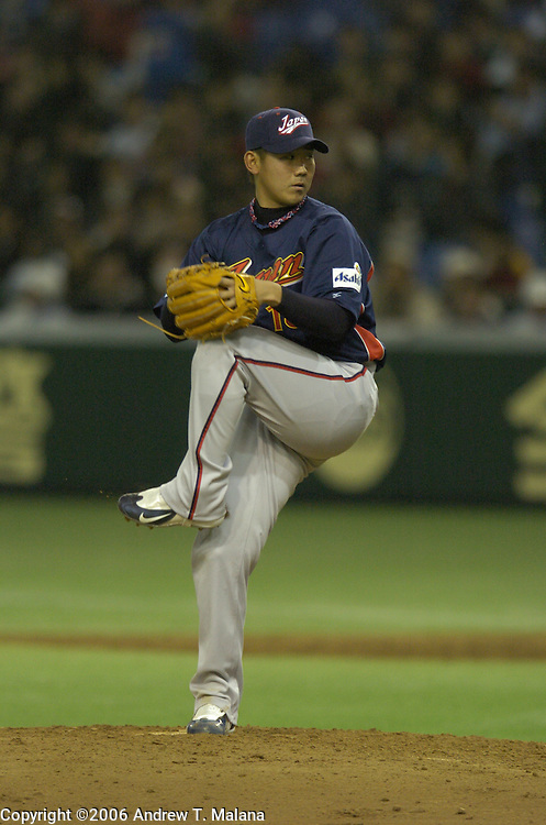 Team Japan starter Daisuke Matsuzaka throws a pitch against Team Chinese Taipei in the World Baseball Classic at Tokyo Dome, Tokyo, Japan.