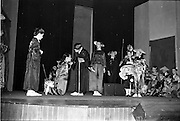 "30/03/1963<br /> 03/30/1963<br /> 30 March 1963<br /> Schools Drama Festival at The Gate Theatre, Dublin.<br /> Picture shows pupils of Scoil na nOg, Glanmire, Co. Cork, on stage performing ""An Prionnsa a Goideadh""."