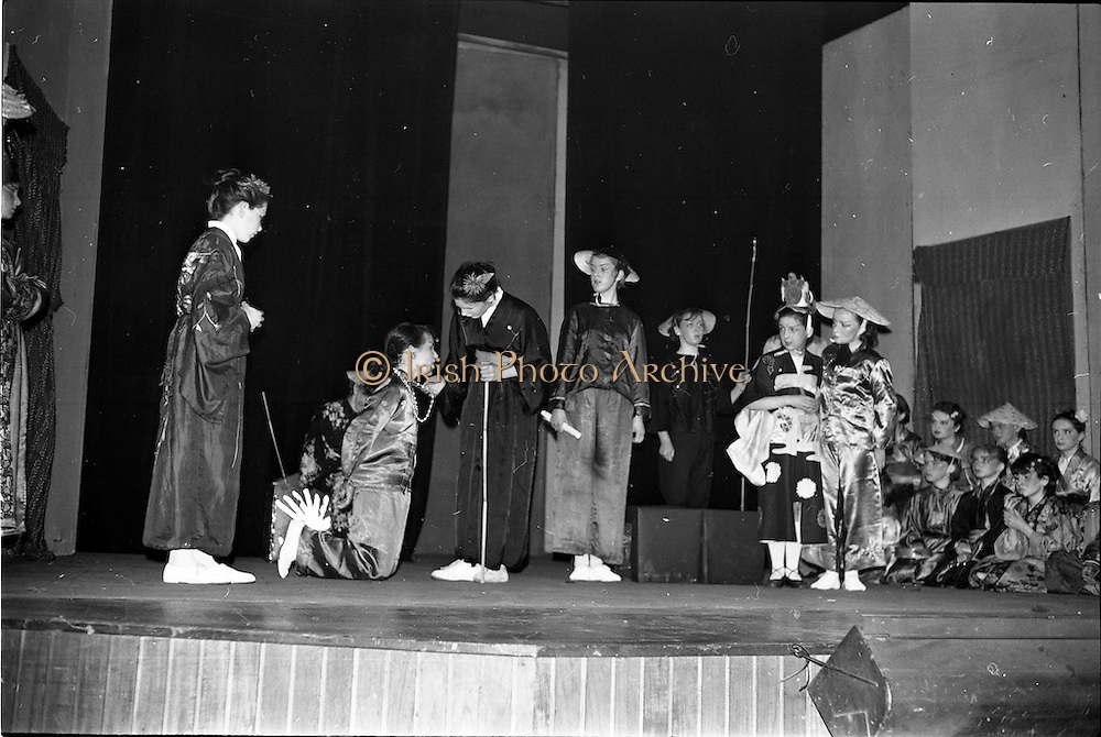 """30/03/1963<br /> 03/30/1963<br /> 30 March 1963<br /> Schools Drama Festival at The Gate Theatre, Dublin.<br /> Picture shows pupils of Scoil na nOg, Glanmire, Co. Cork, on stage performing """"An Prionnsa a Goideadh""""."""